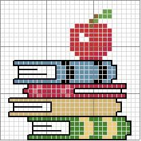 Schema punto croce Libri-e-mela