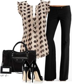 """Black Polka Dots"" by styleofe on Polyvore. Just need the pants!"