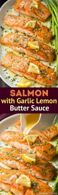 Pan Seared Salmon (with Lemon Butter Sauce!) - Cooking Classy Skillet Seared Salmon with Garlic Lemon Butter Sauce - Cooking Classy Fish Recipes, Seafood Recipes, New Recipes, Cooking Recipes, Healthy Recipes, Recipies, Sauce Recipes, Easy Cooking, Recipes Dinner