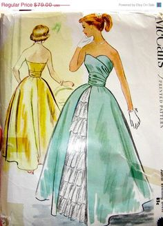 Vintage 1950's McCall's Strapless  Jr. Evening Dress by anne8865, $49.60