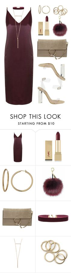 """""""Burgundy vs Gold"""" by baludna ❤ liked on Polyvore featuring Topshop, Yves Saint Laurent, Chloé, Vanessa Mooney and adidas"""