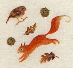 The animals until the fur carefully reproduced embroidery illustration work - 03