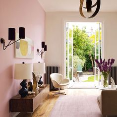 stunningly elegant and sophisticated pale pink living room