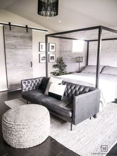 Create a cozy but modern Master Bedroom Seating Area by placing a sofa in front of a canopy and finishing it off with a textured gray ottoman and rug. Bedroom Couch, Bedroom Seating, Cozy Bedroom, Home Decor Bedroom, Bedroom Furniture, Lux Bedroom, Bedroom Ottoman, Bedroom Ideas, Bedroom Suites