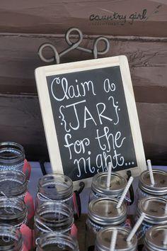 Claim a Mason Jar Wedding Chalkboard/ Rustic Wedding Décor by Country Girl Collections