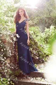 f178b878b1cc4 wejanedress New Designs Cap Lace Sleeves V Neck Navy Blue Dress Long  Bridesmaid Dresses Gowns 2017 Backless Dress Wedding Guest -in Bridesmaid  Dresses from ...