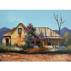 South African Artist - Rick Becker Pictures To Paint, Art Pictures, Farmhouse Paintings, African House, South African Artists, Butterfly Painting, Old Farm Houses, Landscape Paintings, Landscapes