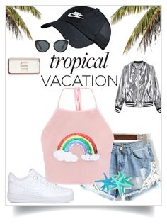 """""""summer"""" by rosaliedm on Polyvore featuring mode, Missguided, NIKE, Sans Souci en Prada"""