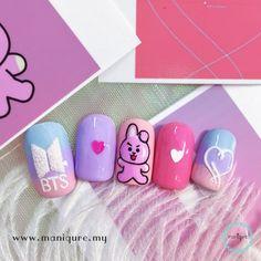 """🇰🇷 Celebrate South Korea national day Aug with KPOP Nails! Korean Nail Art, Korean Nails, Fingernails Painted, Aycrlic Nails, Best Acrylic Nails, Acrylic Nail Designs, Army Nails, Nail Art Designs Videos, Tribal Nails"