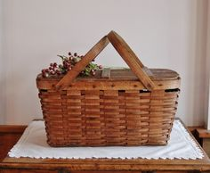 Antique Wood Picnic Basket, Old Woven Ash Splint with Wood Top, Cabin Farmhouse Decor, Collectible, Rustic Chic