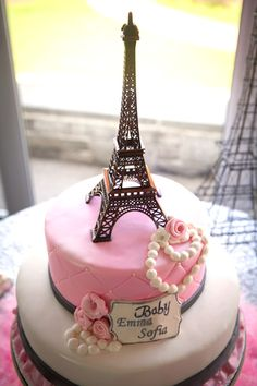Pink Paris themed baby shower with So Many Really Cute Ideas via Kara's Party Ideas!