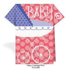 ThemeNaps Baby Carriage pink Baby Shower Place Cards Stand Up Luncheon Napkins TN10-098