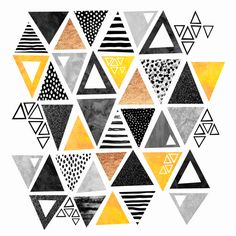 TRIANGLE ABSTRACT - BLACK AND YELLOW