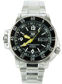 Montre Seiko 5 automatique, calibre 7S36 (23 jewels), bracelet et boîtier acier, compas intégré pour la plongée.