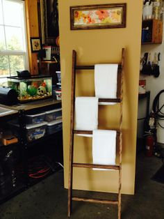 Make your own rustic towel ladder just like you've seen in high-end stores!
