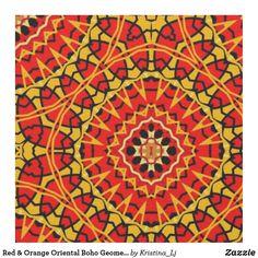 Red & Orange Oriental Boho Geometric Pattern Fabric Bohemian Fabric, Boho, Pattern Fabric, Custom Fabric, Tea Towels, Crafts To Make, Accent Decor, Printing On Fabric