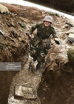 A German Gefreiter running in a trench. Photo taken somewhere on the Eastern Front.