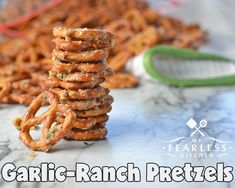 Garlic-Ranch Pretzels from My Fearless Kitchen. These Garlic-Ranch Pretzels are a perfect snack for an afternoon pick-me-up, a relaxing evening, or any party! They are simple to make and packed with flavor! Healthy Afternoon Snacks, Quick Healthy Snacks, Yummy Snacks, Healthy Recipes, Nutritious Snacks, Diet Snacks, Yummy Recipes, Yummy Food, Snack Mix Recipes