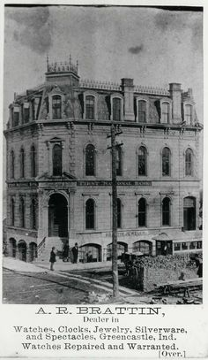 The Greencastle Street Railway Company was organized with a capital of $ 50K and before the end of 1866 the line was in operation. It ran south on Jackson Street to Washington St, east on Washington to College Ave passing the largest hotel of the time, the Grand Central, east on Seminary to Bloomington St. and south via Bloomington, Depot (Main), and Maple Streets to the station of the Terre Haute and Indianapolis Railroad (the Vandalia or Pennsylvania). Two small cars were drawn by horses.