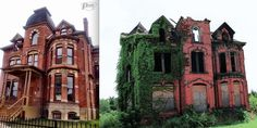 Now and then. --The Edmund in Brush Park. Originally built by lumber baron Lucien Moore in 1885. [note: The Pure Detroit left photo is 'Now', the right photo is 'then'.] PUREDETROIT.com