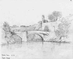 County Bridge Barnard Castle - pencil sketch by Malcolm Coils Barnard Castle, Bridge, Sketch, Pencil, Painting, Art, Sketch Drawing, Art Background, Bridge Pattern