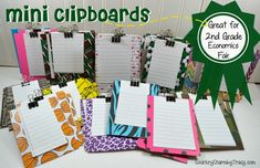 Mini clipboards for 2nd grade Economics Fair project | #recycle #trashtotreasure