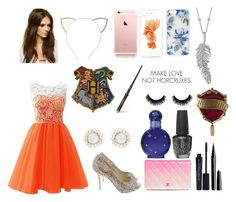 """""""Gryffindor Yule ball outfit"""" by star-mannings on Polyvore featuring Smashbox, Marc Jacobs, OPI, Britney Spears, Penny Preville, Sonix, Cara and Forever 21"""