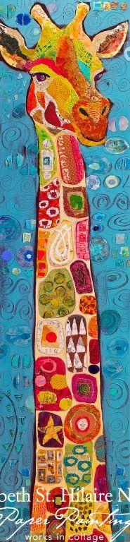 Paper Paintings: Gustav Giraffe and the Year of the Giraffe by Elizabeth St. Hilaire Nelson / always outstanding creations Art Du Collage, Giraffe Art, Giraffe Painting, Giraffe Head, Drawn Art, Art Et Illustration, Giraffe Illustration, Art Design, Art Plastique