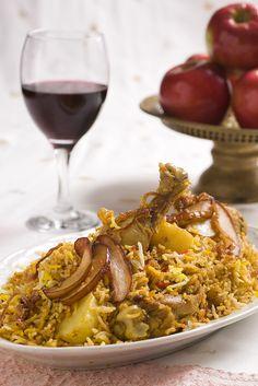 עוף בירואני עם דבש ותפוחים מקורמלים בחג' כחיל
