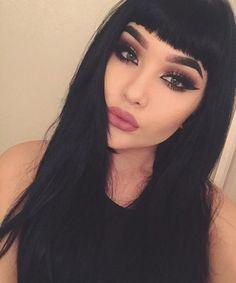 Fashion Jet Black Long Straight Full Bang Women's Human Hair Wig