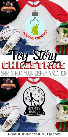 Planning a Christmas Vacation to Disney... these shirts are perfect for a day at Hollywood Studios and a visit to Toy Story Land. There's so many fun Disney Christmas designs to choose from! Disney Shirts | Disney Vacation | Disney Bound | Disneybounding | Disney Tips