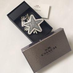"Coach Star Canyon Glitter Key Chain NIB Silver/Gun Metal.  Plated Metal.  1 1/4"" attached split key ring. Coach Accessories Key & Card Holders"