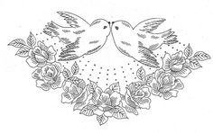 birds and roses - embroidery pattern
