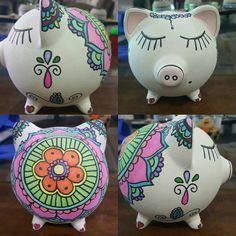 Cute Crafts, Diy And Crafts, Easy Crafts, Pottery Painting, Ceramic Painting, Pig Bank, Paper Mache Sculpture, Cute Piggies, Baby Presents