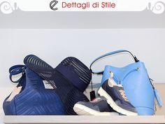 Da destra: #Borsa in ecopelle bluette con lavorazioni a laser #Marella -  #Cappello a tesa larga blu #Marella -  #Trainer primaverili leggerissime #pànchic  #Borsa #secchiello in ecopelle azzurra #LesCopains.  #moda #accessori #glamour #borse #bags #handbag #shoulderbag #shoes #eldaelegance #eldastyle