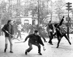 Students rioting in Paris in 1968. The events of May. Those were the days.