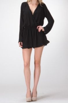 Honey Punch Long Sleeve Romper With Ruffle Trim - BohoPink
