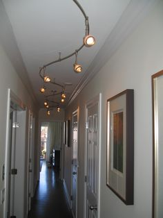 Hall lighting and design alluring interior design ideas living room with hallway ceiling light do it Hallway Ceiling Lights, Hallway Light Fixtures, Hallway Walls, Track Lighting Fixtures, Modern Light Fixtures, Upstairs Hallway, Entry Hallway, Light Fittings, Wall Fixtures
