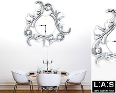 #Orologio bianco con decoro grigio luce, stile #shabby, firmato Laser Art Style. bit.ly/1K6drHg #Orologi