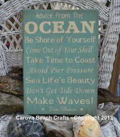 Beach Decor - Beach Sign - Advice From The Ocean - Wood Wall Hanging - Coastal - Nautical - Beach Theme
