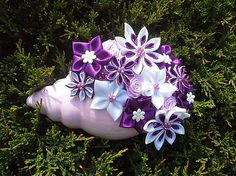 HandmadeFamily / Saténovà ikebana mušľa fialovà