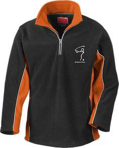 Fleece Pulli BIRDIE in Schwarz/Orange – unisex - Größe M - Golfsport.News - Made by DieEventfotografen