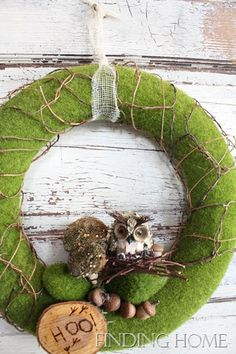 another owl themed wreath for fall.