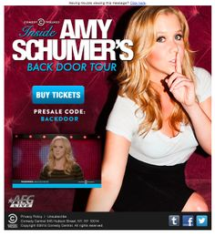 Comedy Central embedded a video in this email promoting Amy Schumer's stand-up comedy tour. The video played directly in the inbox with no need to load in an external browser or player. #emailmarketing #video #media