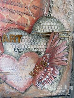Paper Hearts mixed media canvas with Canvas Corp Brands Mixed Media Origins papers by @lynneforsythe