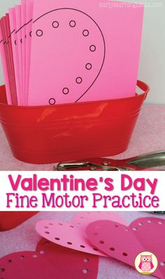 Are you looking for some fun fine motor activities for kids? Use this free heart printable. Kids can practice scissor skills when they cut out the hearts. Then, they can use a hole punch to make holes around the heart's border. This is a great activity for Valentine's Day, February, or any time of the year. Add it to your learning centers in preschool, pre-k, and kindergarten.