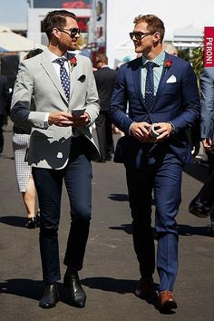 Springraces in Melbo Best Dressed Man, Sharp Dressed Man, Race Day Fashion, Races Fashion, Melbourne Cup Fashion, Mens Garb, Race Day Outfits, Men's Business Outfits, Men Formal