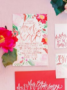 Watercolor Blossoms - Painted Wedding Invitations + Calligraphy - Pink + Red - Customizable