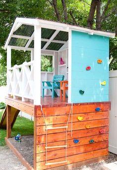 Stelzenhaus für Kinder im Garten selber bauen - Anleitung und Bauplan