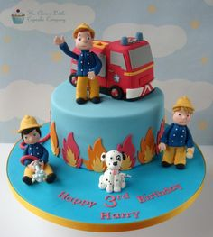 Fireman Sam & Friends Cake - Cake by The Clever Little Cupcake Company (Amanda Mumbray) Fireman Sam Birthday Cake, Fireman Sam Cake, Fireman Party, 4th Birthday Cakes, Fire Engine Cake, Cake Designs For Kids, Fire Cake, Friends Cake, Character Cakes